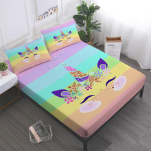 Colorful Unicorn Sheet Set Lovely Cartoon Bed Striped Bedding Flat Deep Pocket Fitted Pillowcase 3/4Pcs D35