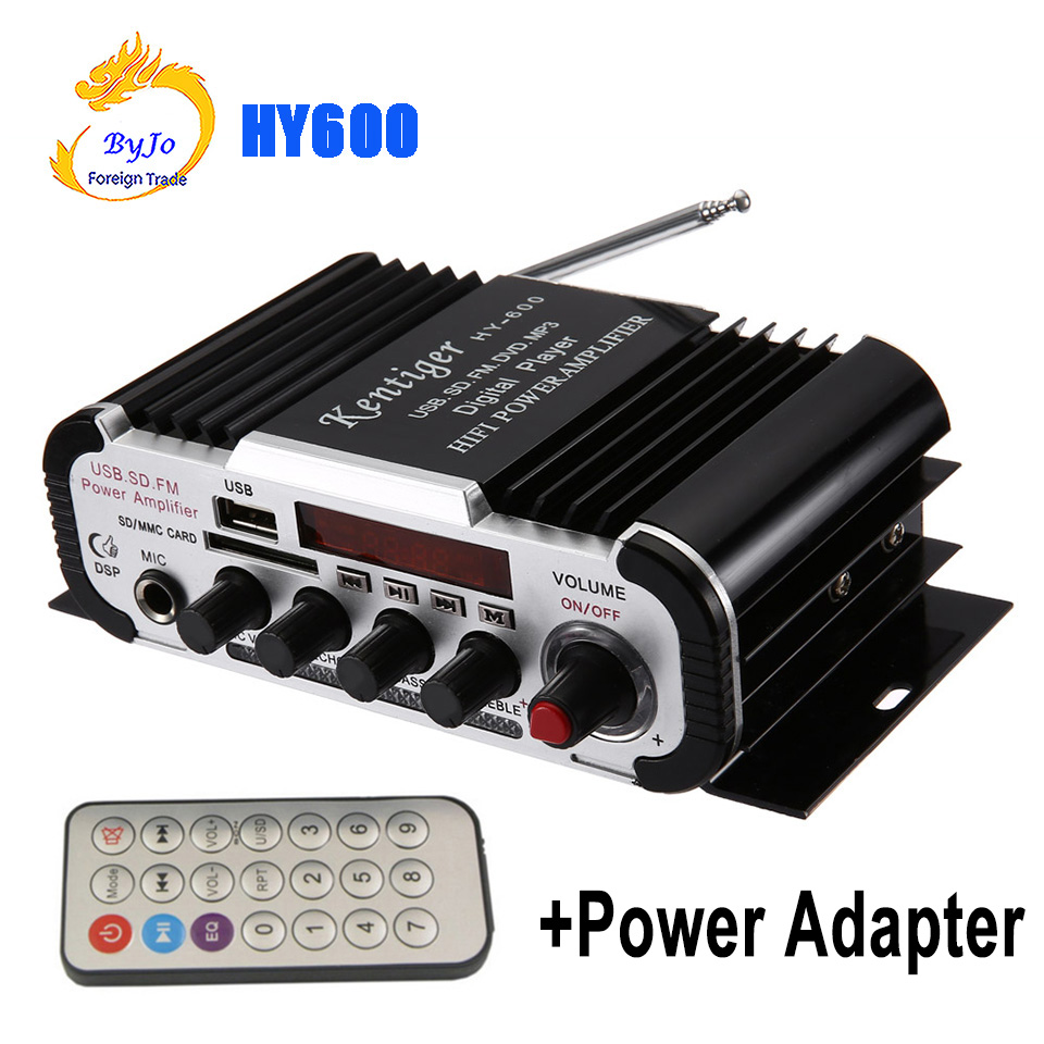 HY600 Mini Amplifier Car Amplifier 20W+20W FM Audio MIC MP3 Speaker Stereo Amplifier for Motorcycle Car Home use + Power Adapter