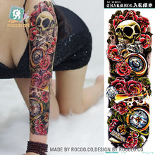 Rocooart Large Arm Sleeve Tattoo Skull Angel Rose Men Full Flower Tatoo Body Art Tatto Girl Waterproof Temporary Tattoo Sticker(China)