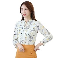 Fashion Women Slim Long Sleeve Bow Tied Floral Blouse Camiseta Tops Blusa S M L XL