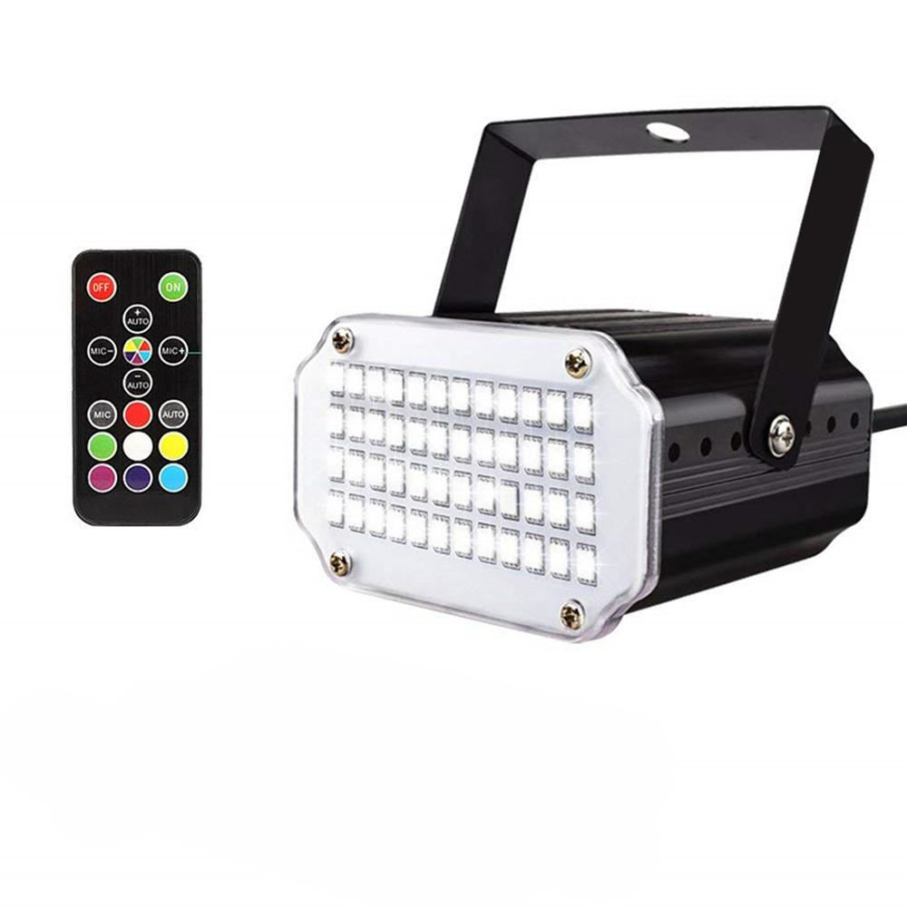 DSstyles 48LEDs 7Colors Strobe Light With Remote Sound Activated Super Bright Flashing Stage Light For DJ Party Show Club Disco