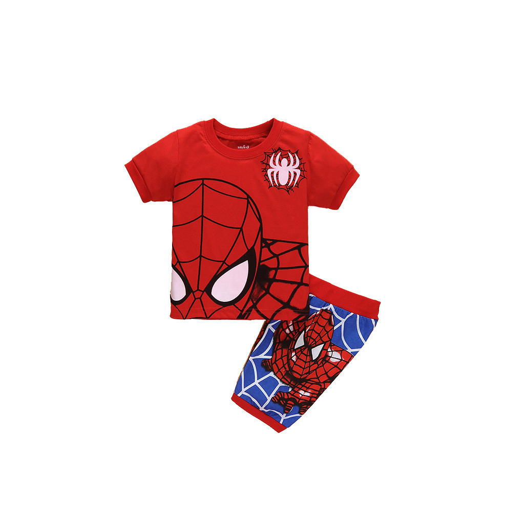 Cosplaydiy superhero kids cartoon t shirt pajamas boys homewear batman spiderman homecoming pajamas spider man shirt pants j20-1