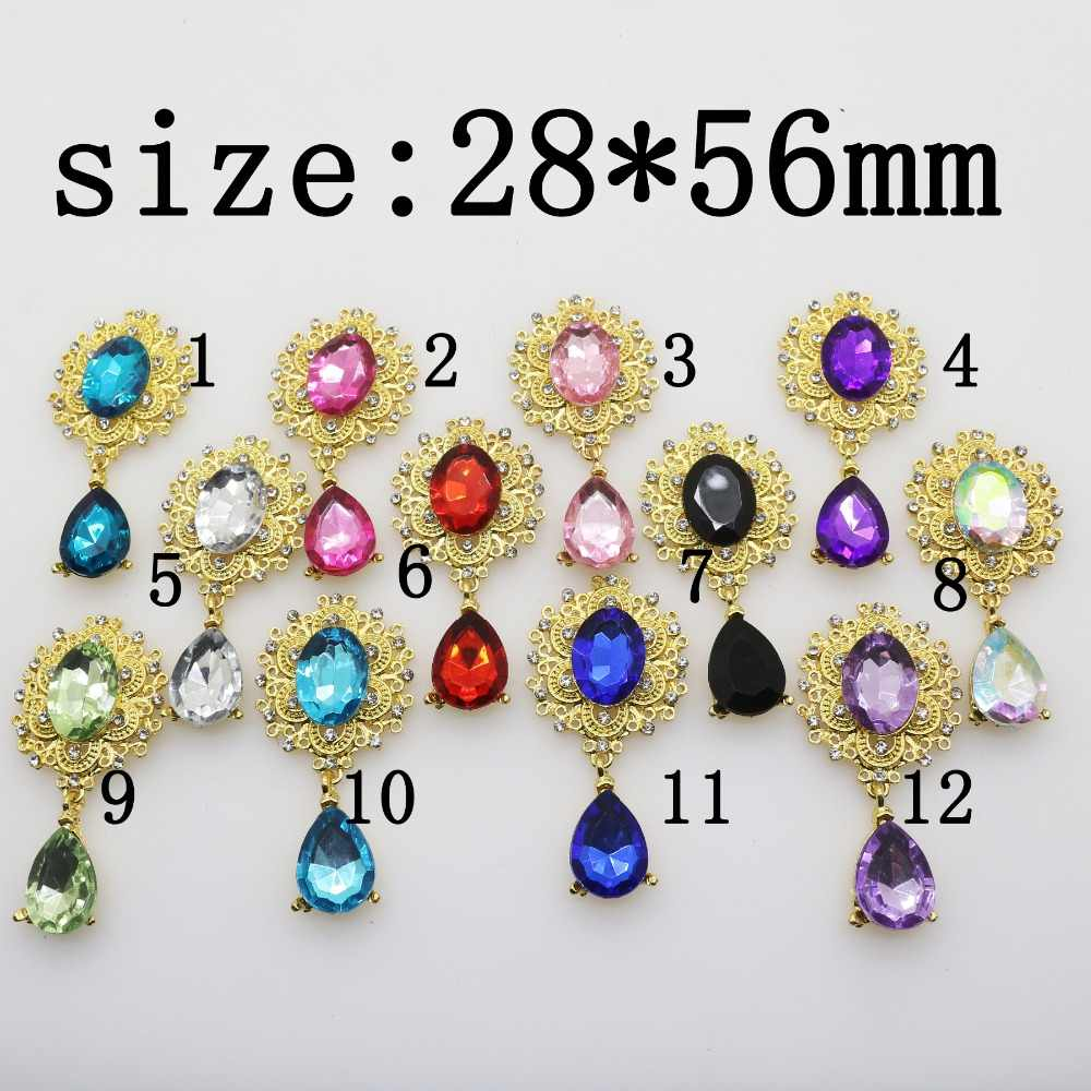 YWXINXI Fashion New Hot 1Pcs/Lot Flatback Brooches 28*56mm Alloy Accessories Diy jewelry Rhinestones Decoration 11Color