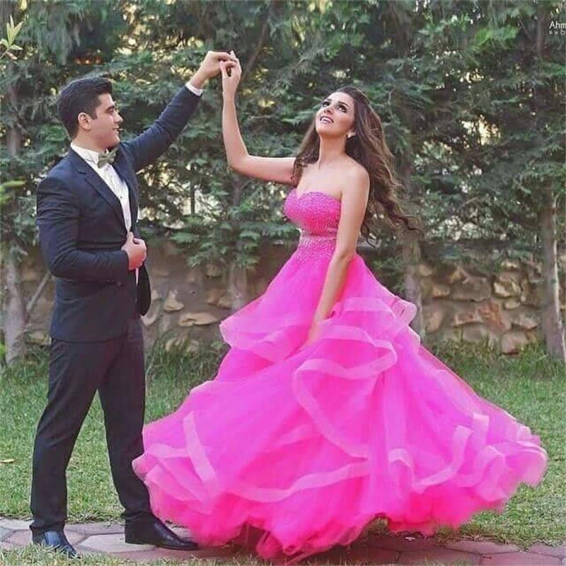 Fuchsia Sweetheart Off The Shoulder Plus Size Tulle Tiered Beaded   Prom     Dresses   Vestidos 2019 Arab   Prom   Gowns WH63