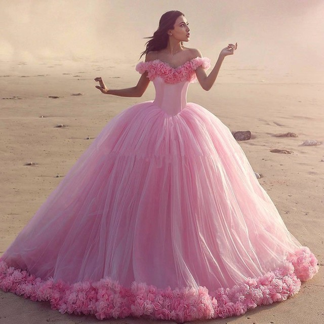 f7581f197e 2016 Gorgeous Puffy Pink Quinceanera Dresses Princess Cinderella Long Ball  Gown Party Gowns Off Shoulder Flowers