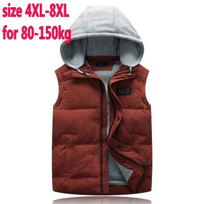 Free shipping autumn and winter male cotton vest with a hood thickening down cotton vest plus size men's Large clothing