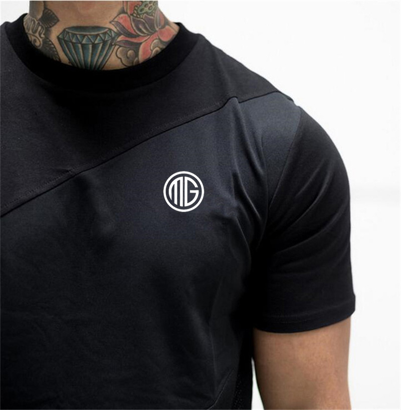 Brand Mens muscle T shirt bodybuilding fitness men tops cotton singlets Plus Big size TShirt Cotton Mesh Short Sleeve Tshirt 35
