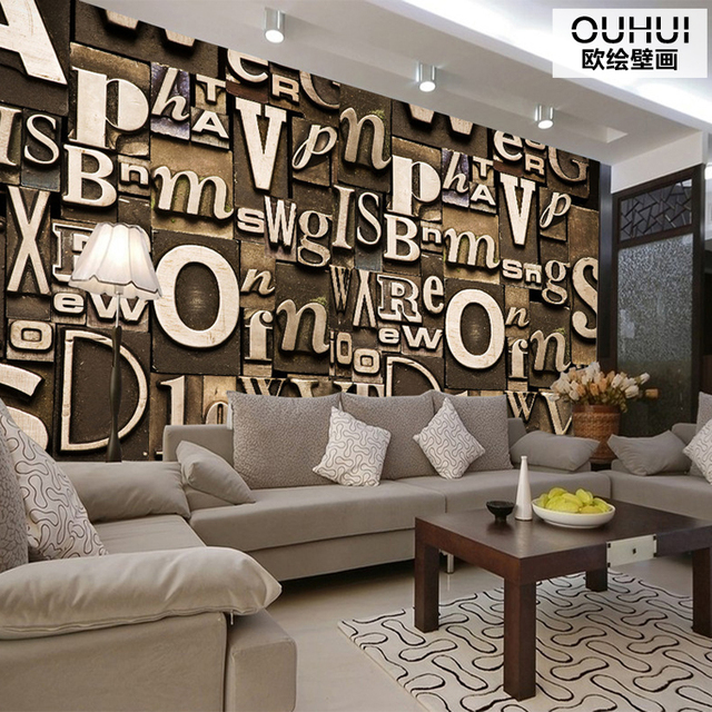 3d photo wallpaper retro dimensional letters murals for Living room 6 letters