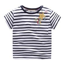 Cute Boys t shirt Regular Black white striped kids Sports Tops Pentagram print tshirts for boys Girl Short Sleeve T-shirt 2-7Y
