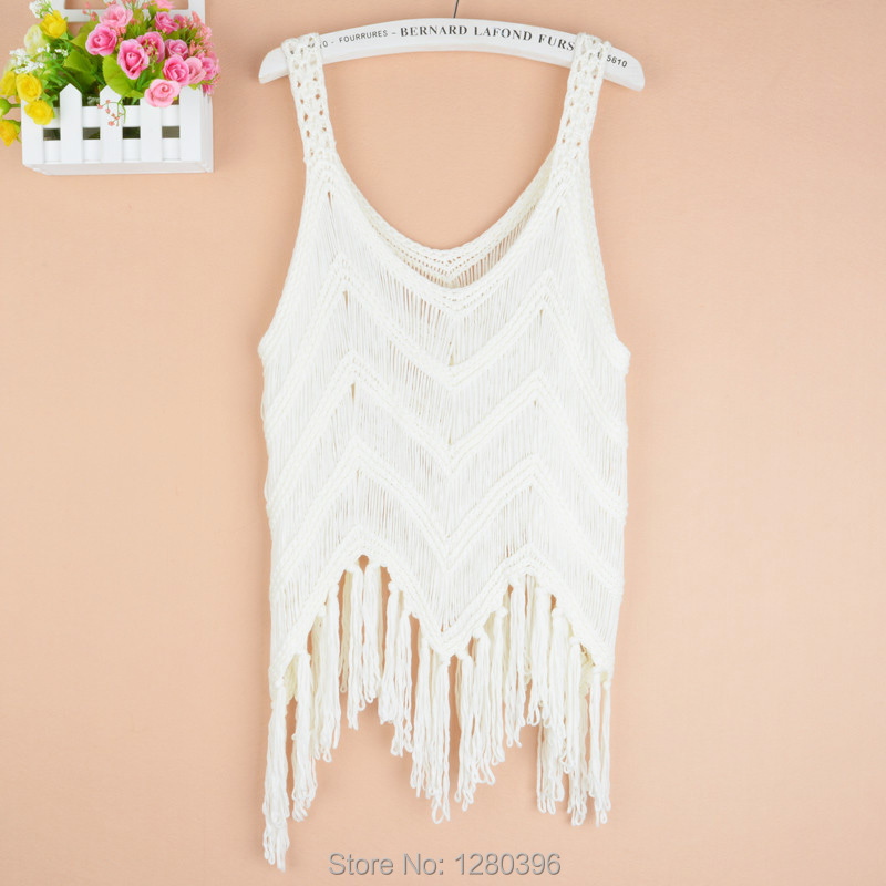 New arrive spring summer fashion hollow out tassel handmade crocheted sexy girl cotton vest women sleeveless top tanks 1720#