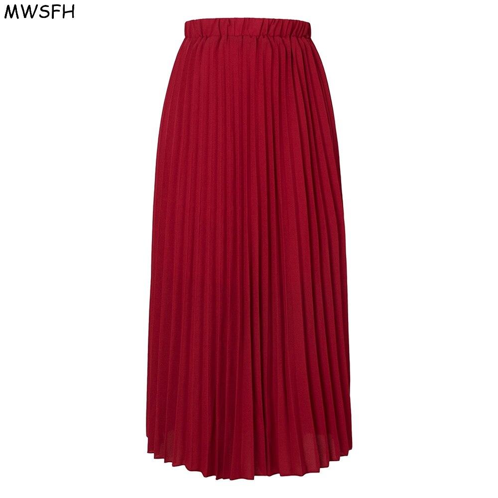 96d351a13 MWSFH otoño mujer Falda larga de gasa plisada sólida Retro Maxi Faldas  Mujer Artificial Piano plisado Falda Mujer Jupe Femme