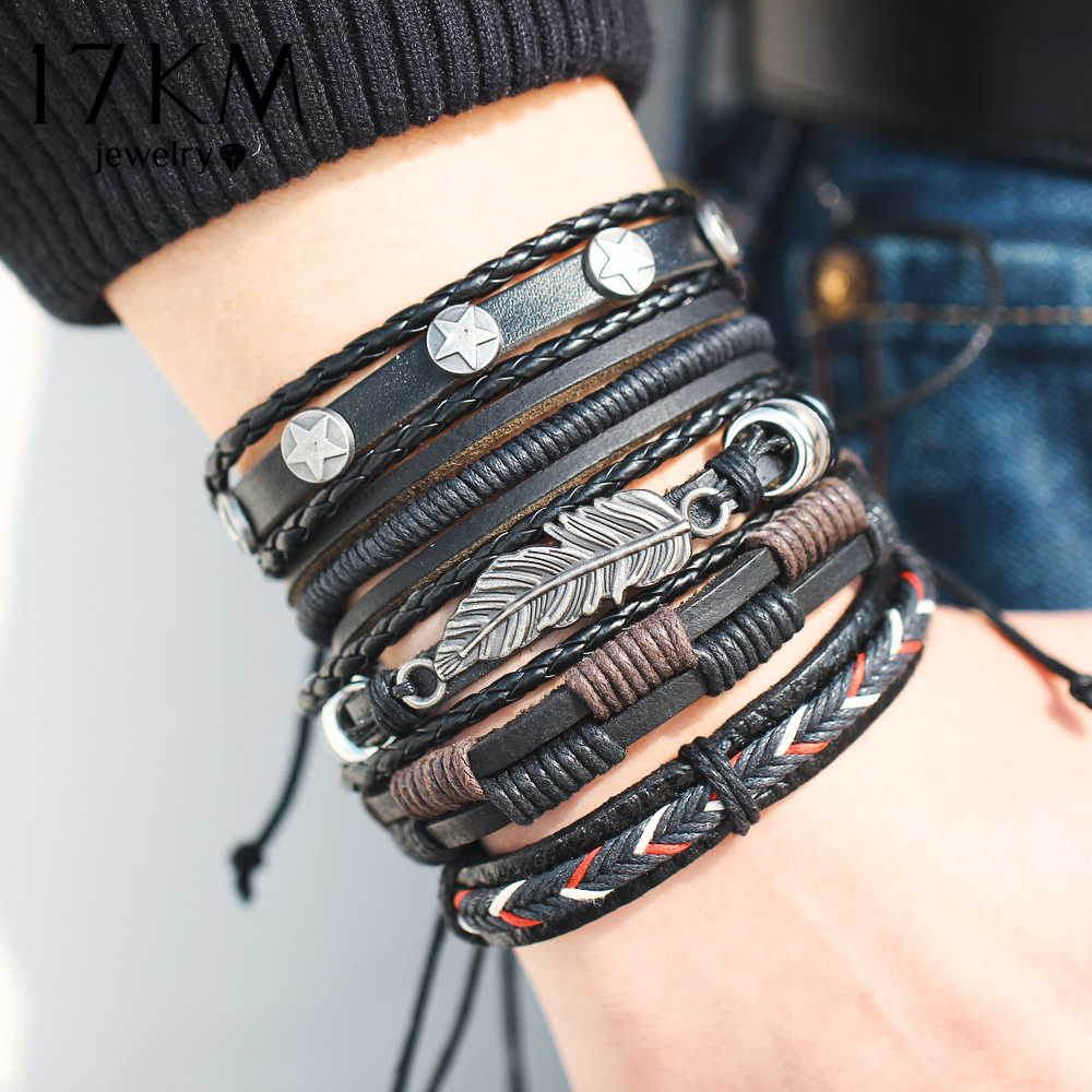 17KM Vintage Multilayer Leather Bracelet For Men Handmade Wristband Bracelet Punk Rope