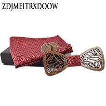 ZDJMEITRXDOOW wooden bow  Tie set and Handkerchief Bowtie Necktie Cravate Homme Noeud Papillon Man Corbatas Hombre Pajarita
