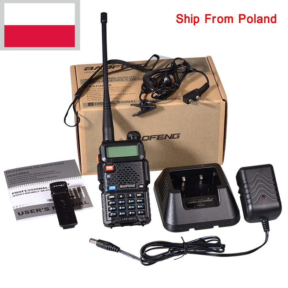 Polonia Marca New Black BAOFENG UV-5R Walkie Talkie VHF/UHF 136-174/400-520 MHz Due radio bidirezionale In Polonia/SpagnaPolonia Marca New Black BAOFENG UV-5R Walkie Talkie VHF/UHF 136-174/400-520 MHz Due radio bidirezionale In Polonia/Spagna