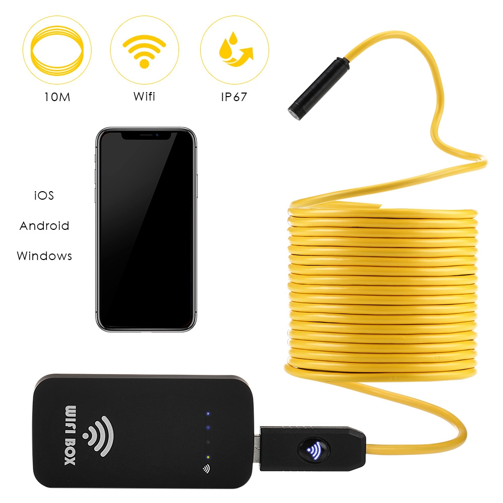 Wireless Industrial Endoscope HD1200P Wifi USB Borescope IP67 Inspection Camera with 10M Semi-rigid Fexible Cable forSmartphone