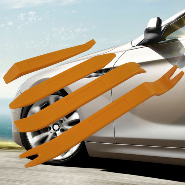 4Pcs/set ABS Automobile Audio Door Clip Panel Trim Dash Auto Radio Removal Pry Tool Set Orange Car Panel Removal Tools