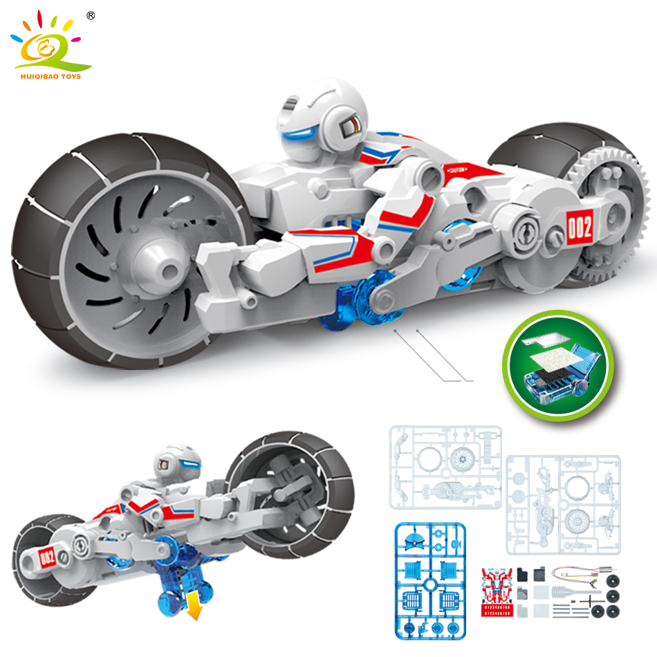 Racing Bicycle DIY Salt Water Power Assembly Blocks Speed Racing Model Science Technic Bricks Educational Toys For Children