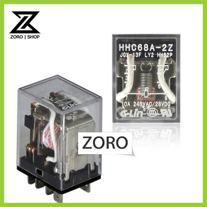 20Pcs/lot HHC68A-2Z(JQX-13F LY2) Electromagnetic RelayAC220V 2H 2D 2Z 10A 240VAC 28VDC DC 5V-220V AC 6V-380V