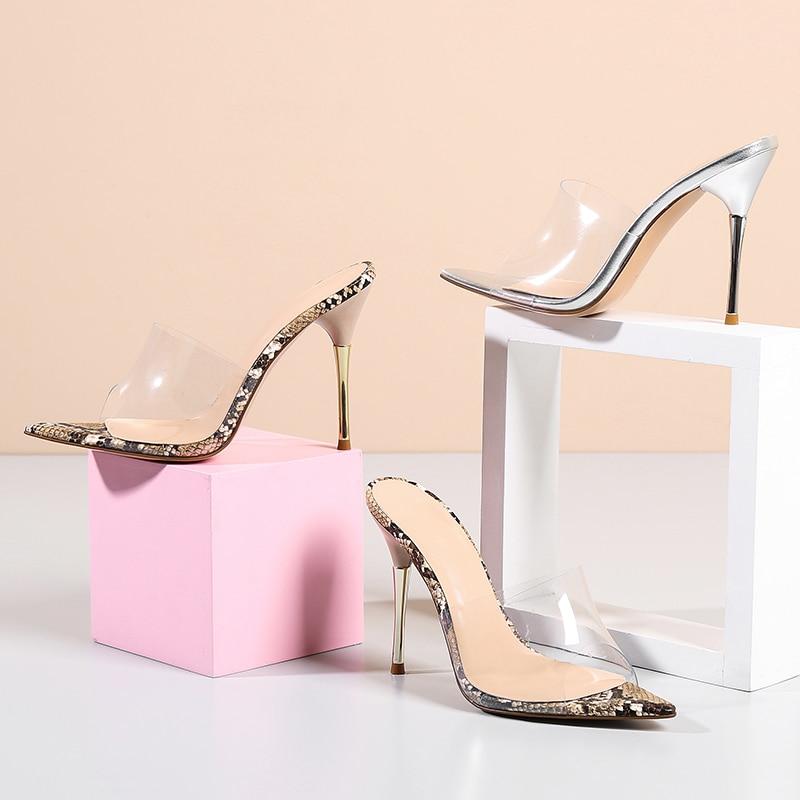 Weibliche Frauen High Slides Maultiere Snake Wetkiss Sommer Neue Frau silber Transparent Schlange Hausschuhe Peep 2019 Toe Schuhe Pvc Heels qqOwvCf