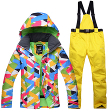 Ski Suit Women 2020 New High Quality Female Windproof Waterproof Winter Sets Snow Jacket And Pants Skiing And Snowboarding Suits cheap Hooded Tringa Jackets COTTON Fits true to size take your normal size