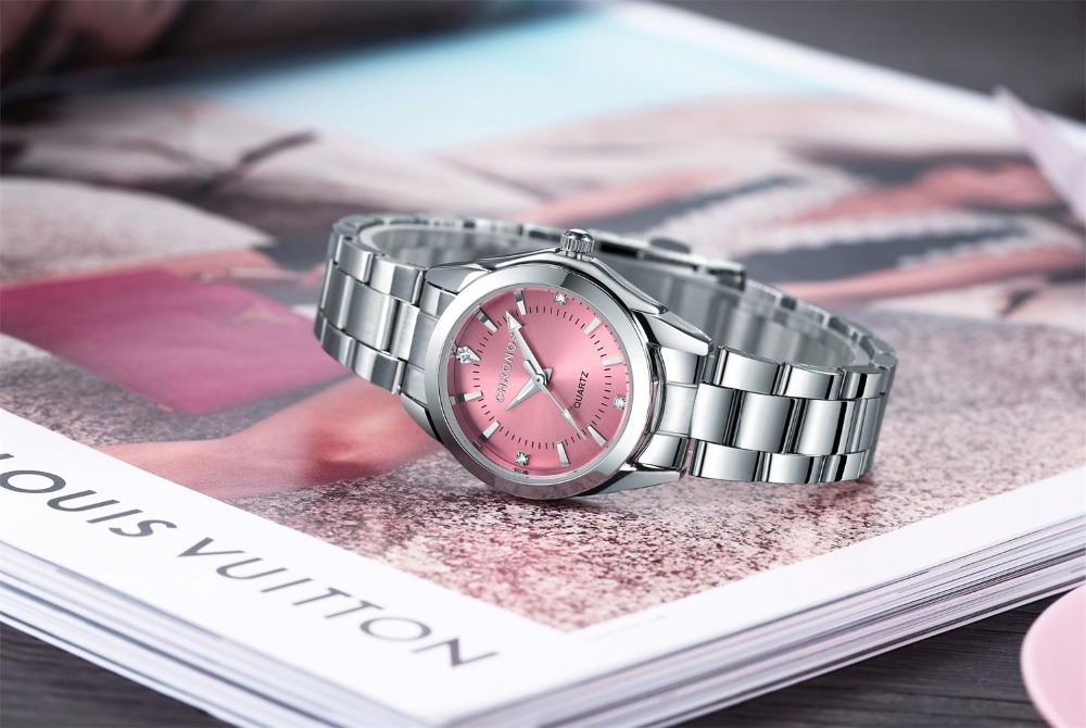 CHRONOS Women Stainless Steel Rhinestone Watch Silver Bracelet Quartz Waterproof Lady Business Analog Watches Pink Blue Dial 2