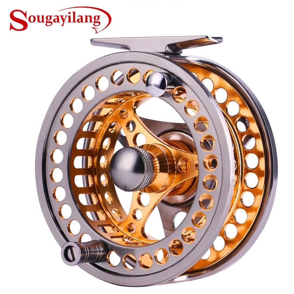 Sougayilang carretel de pesca com mosca grande caramanchão 2 + 1 bb com cnc-corpo de liga de alumínio usinado e carretel voar carretéis