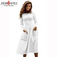 SEBOWEL 2018 New 6 Color Casual Skater Dress Women Long Sleeve Big Pocket Midi Dresses Brief