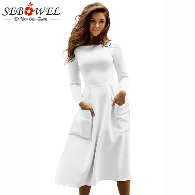 SEBOWEL 2018 New 6 Color Casual Skater Dress Women Long Sleeve Big Pocket  Midi Dresses Brief c3cb6419a380