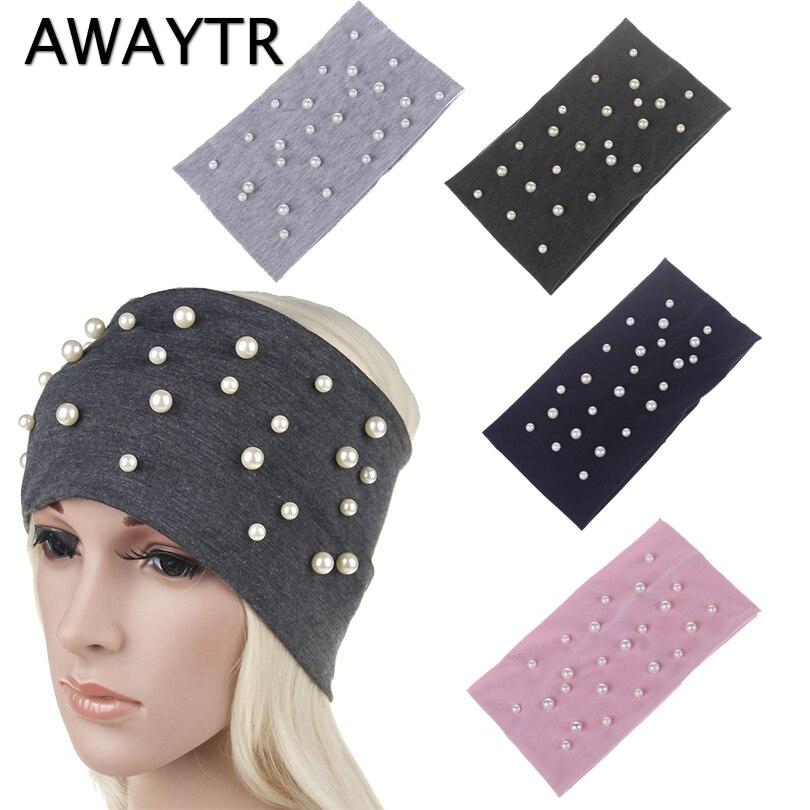 AWAYTR Solid Women Wide Headband Black Rhinestone Cotton Elastic Headbands Women   Headwear   Turban Girls Hair Accessories