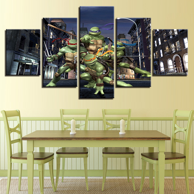 Home Decor Wall Art Modern Canvas Posters 5 Panel Teenage Mutant Ninja Turtles Living Room Pictures HD Printed Painting Frame