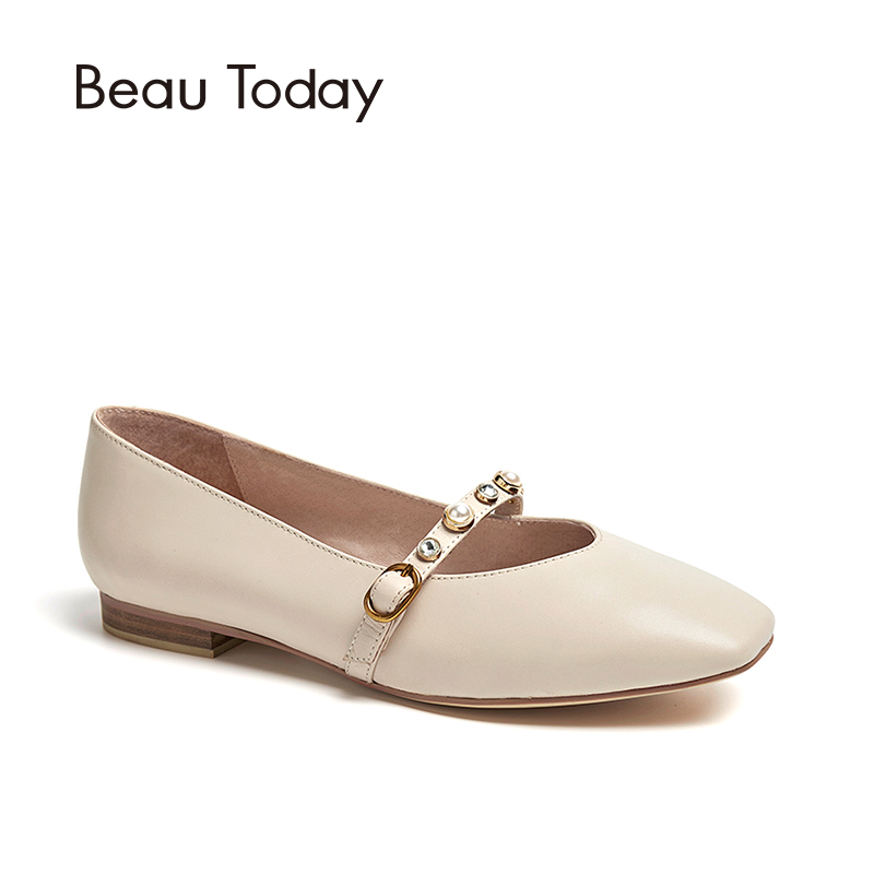 BeauToday Women Loafer Shoes Genuine Leather Calfskin Crystal Round Toe Casual Lady Slip-On Flat Shoes Handmade 30061 3 colors calfskin leather casual buckle comfort slip on loafer men boat shoes bussiness shoes