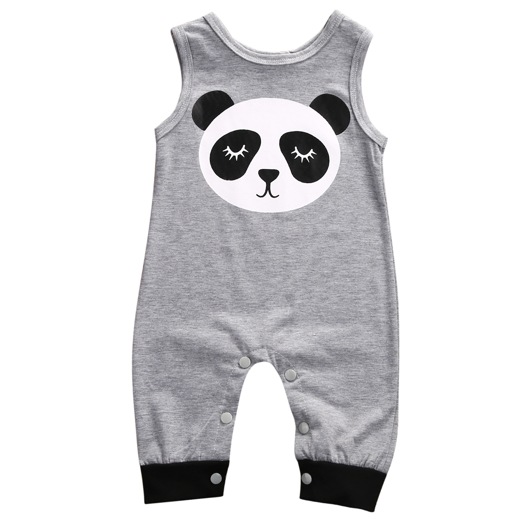 Cute Newborn Baby Clothes 0-24M Infant Bebes Cartoon Panda Sleeveless Baby Rompers Jumpsuit Outfit Baby Costume 2017 spring newborn rompers baby boys girls clothes long sleeve cute cartoon face cotton infant jumpsuit queen ropa bebes 0 24m