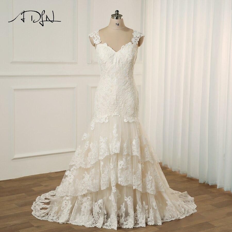 ADLN Plus Size Wedding Dress Cap Sleeves Sweep Train Wedding Vestidos Cerimonia 2018 Vestido De Noiva