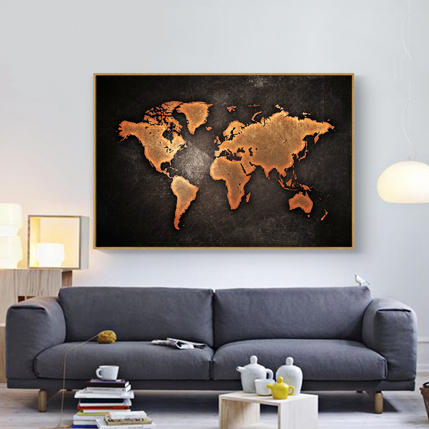 Vintage 3d World Map Wall Prints And Posters For Living Room Decor