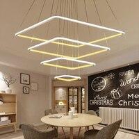 4 светодио дный кольца новый современный LED люстра, гостиная столовая lampadario moderno блеск люстра лампа AC85 265V