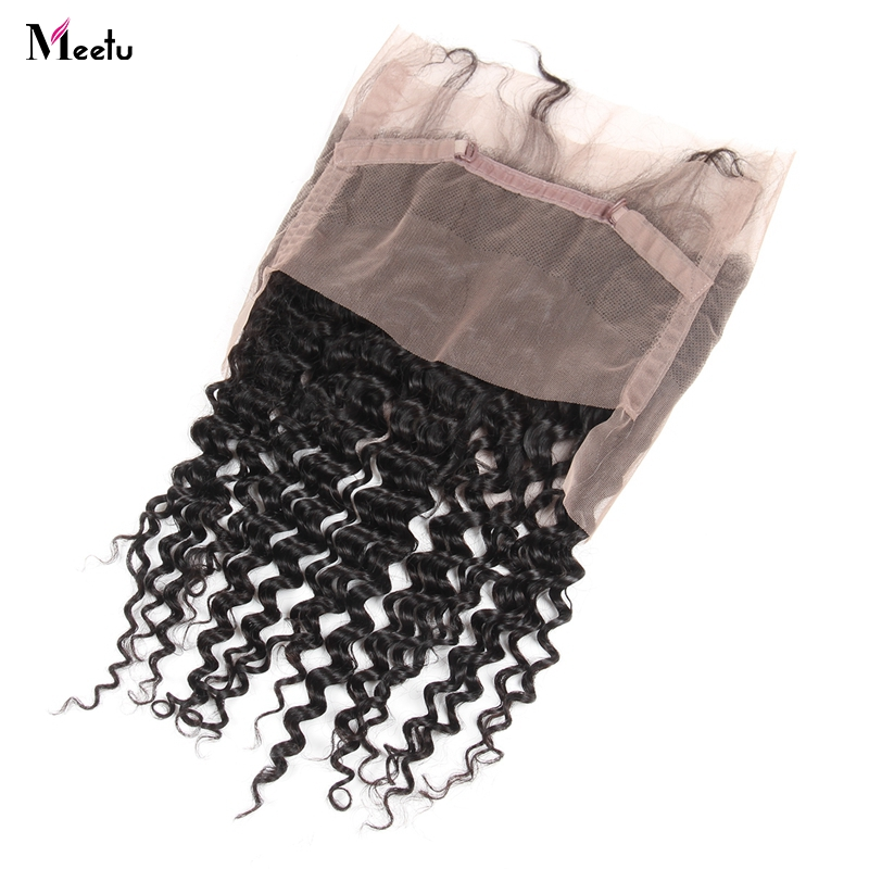Meetu Deep Wave 360 Lace Frontal Indian Non Remy Hair 130% Density Swiss Lace With Bleached Knots 100% Human Hair Closure-in Closures from Hair Extensions & Wigs    1