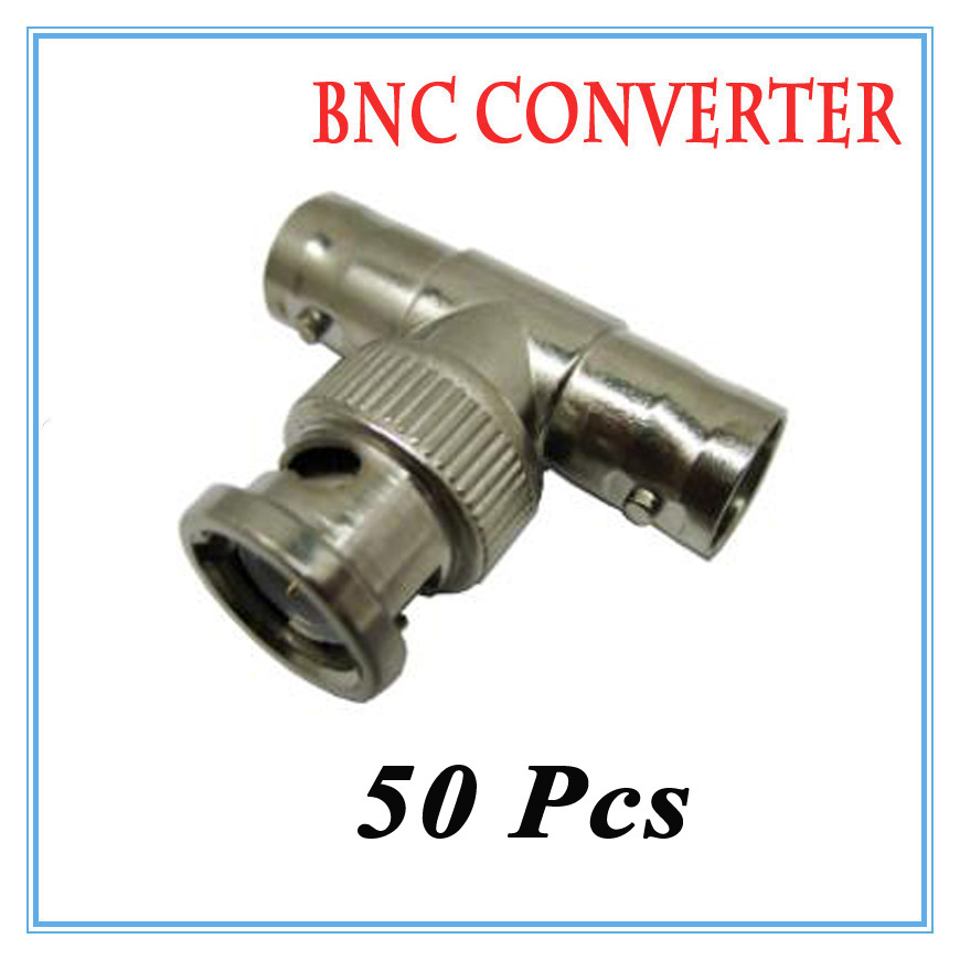 50Pcs BNC 2 female 1 male Connector Extender for CCTV Camera Security Video Surveillance ...