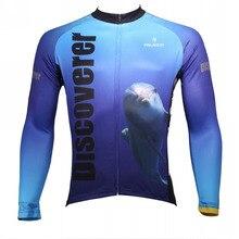 Descubrir El mundo En el Camino de Las Mandíbulas y Delfines Hombres de Manga Larga Ciclismo Jersey Ropa Ciclismo Transpirable Azul Ropa de Ciclismo