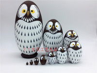 SET Great Russian man 10 story owl egg type Russia Doll wooden toy Craftwork gift promise baby MEN statues Home wedding dies