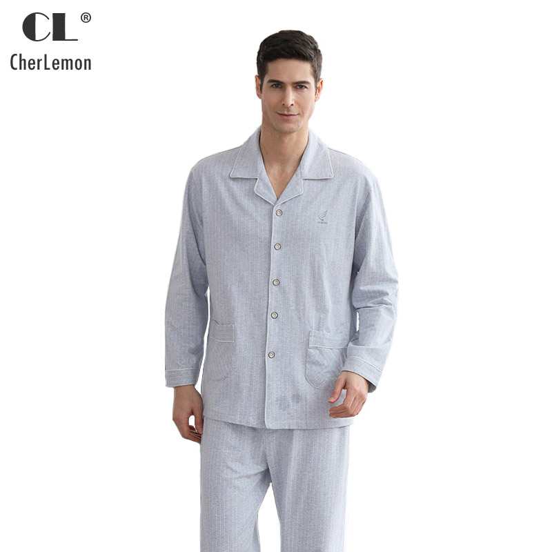 CherLemon Men Premium Colored Cotton Pinstripe Pajamas Male Classic Notch Collar Long Sleeve Autumn Pyjama Homme Soft Sleepwear