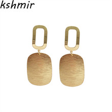 earrings fashion metal geometry retro big contracted personality Wafer creative golden eardrop female