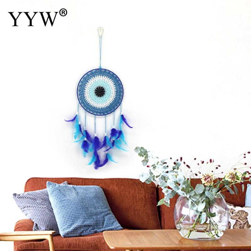 Dream Catcher Scandinavian Style Blue Feather Hunter Substance Ornaments Lace Dreamcatcher Nordic Girls Room Decoration Crafts in Wind Chimes Hanging Decorations from Home Garden