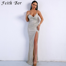 2019 Sexy Stretch Silver Sequin Maxi Dress Hollow Out Floor Length Summer Party Dress V Neck Backless Mermaid Dress цена