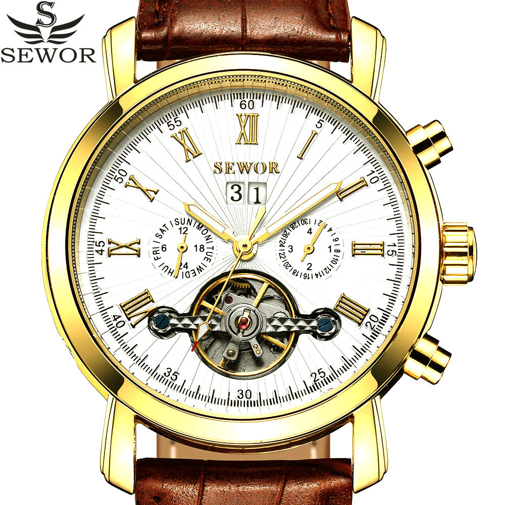 SEWOR Tourbillion Black Gold Dial Fashion Casual Design Auto Date Men Watch Top Brand Mechanical Automatic Wrist Watch For Men 2017 auto date fashion classic black leather band analog mens casual clock simple design watch men automatic mechanical watch