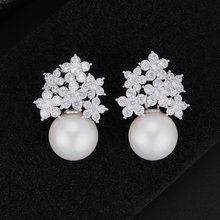 SisCathy Trendy Women Pearl Earrings Elegant Cubic Zirconia Stud Fashion Jewelry Girls Party Wedding Accessories