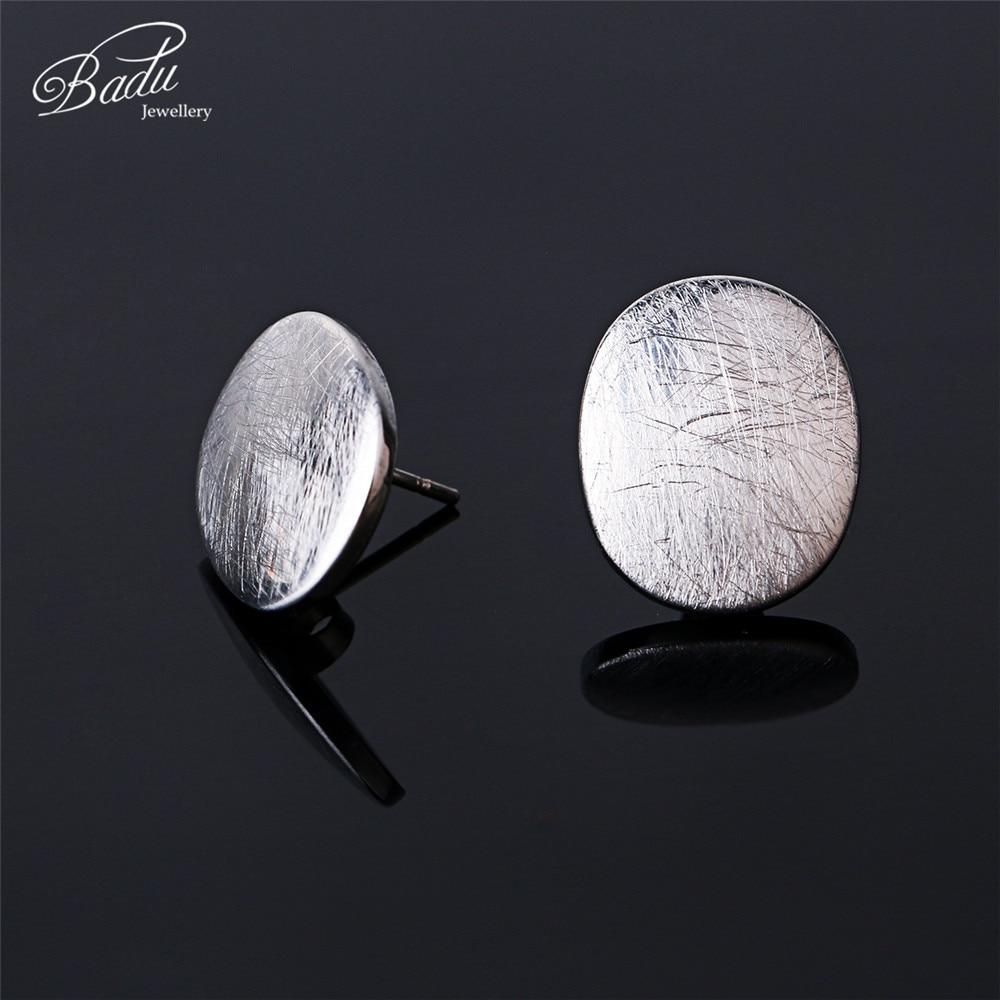 Badu Wanita Stud Earrings Rose Gold Disikat Stainless Steel - Perhiasan fashion - Foto 3