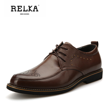 Купить с кэшбэком RELKA HHandmade Men Shoes High Quality Genuine Leather Round Toe Soft Heel Shoes Fashion Lace-up Comfortable Solid Men Shoes N4