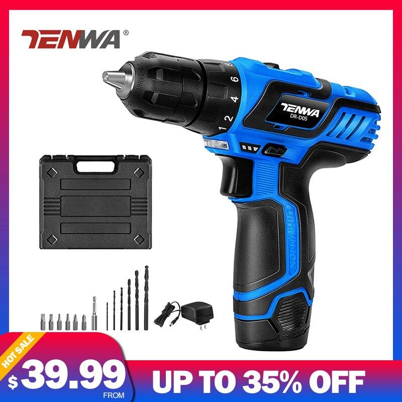 TENWA 12V Electric Drill 0 10mm Chuck Max Torque Cordless Drill Driver Kit 13pcs Accessories Toolbox