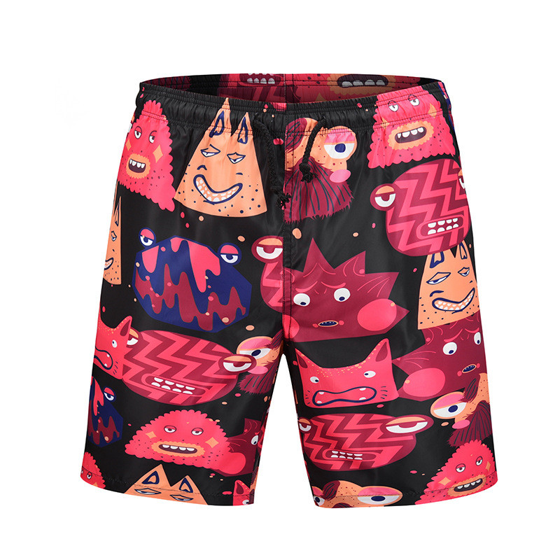 USA SIZE 2018 Summer Men's Board Shorts Fashion Quick drying Beach Short Bermuda Swimwear Casual Digital Cartoon printing Pants