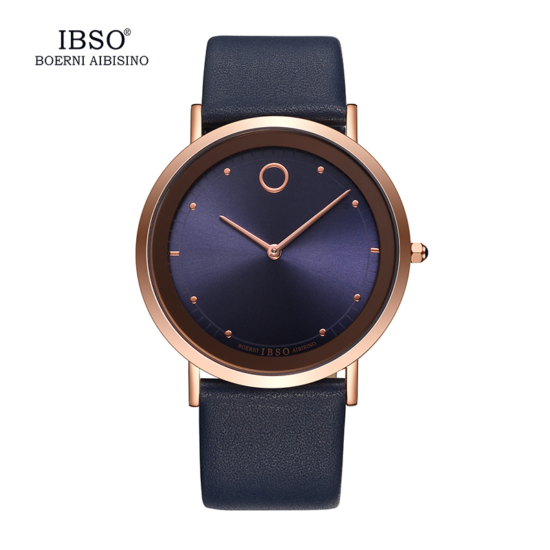 2018 IBSO Ultra-thin Dial Mens Watches Top Brand Luxury Blue Genuine Leather Strap Fashion Casual Watch Men Relogio Masculino loreo 2017 ultra thin dial mens watches top brand luxury genuine leather strap quartz watch men fashion relogio masculino m29